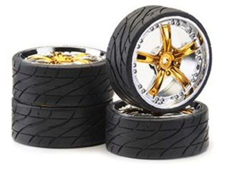 Immagine di Ansmann Racing -  SET GOMME (4Pz) 1:10 ON ROAD 'ROCKSTAR' GOLD CHROME