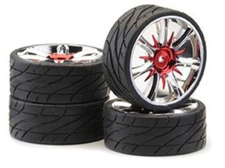 Immagine di Ansmann Racing -  SET GOMME (4Pz) 1:10 ON ROAD 'TWISTER' RED CHROME