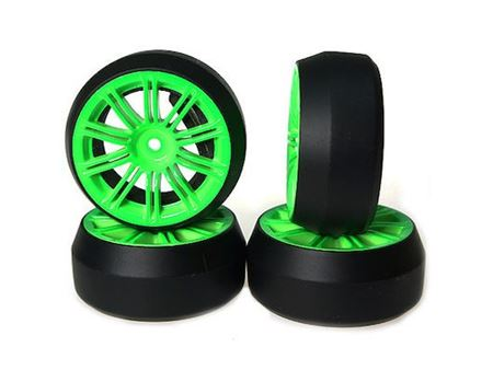 Immagine di GB-  SET GOMME (4Pz) 1:10 ON ROAD DRIFT CERCHIO VERDE