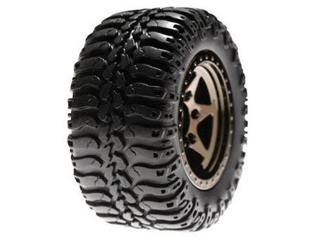 Immagine di LOSI - Rear Wheels & Tires Mntd, Black Chrome(Pr):Mini-DT (Pz.2)
