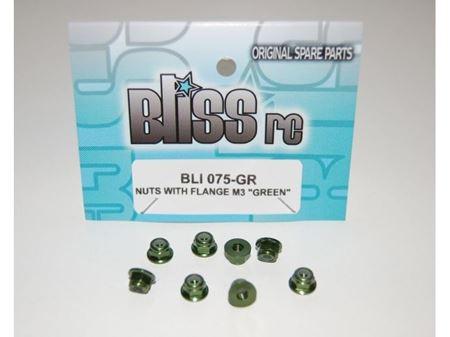 Immagine di BlissRC - Dado autobloccante M3 Flangiato Verde (Pz.8)