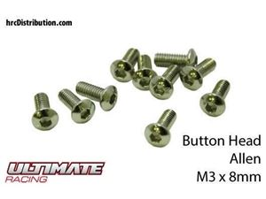 Immagine di ULTIMATE RACING - Viti  Testa Bombata Hex  M3 x 8mm (10 pz.)