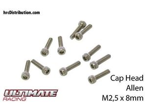Immagine di ULTIMATE RACING - Viti  Testa Cilindrica Hex  M2,5 x 8mm (10 pz.)