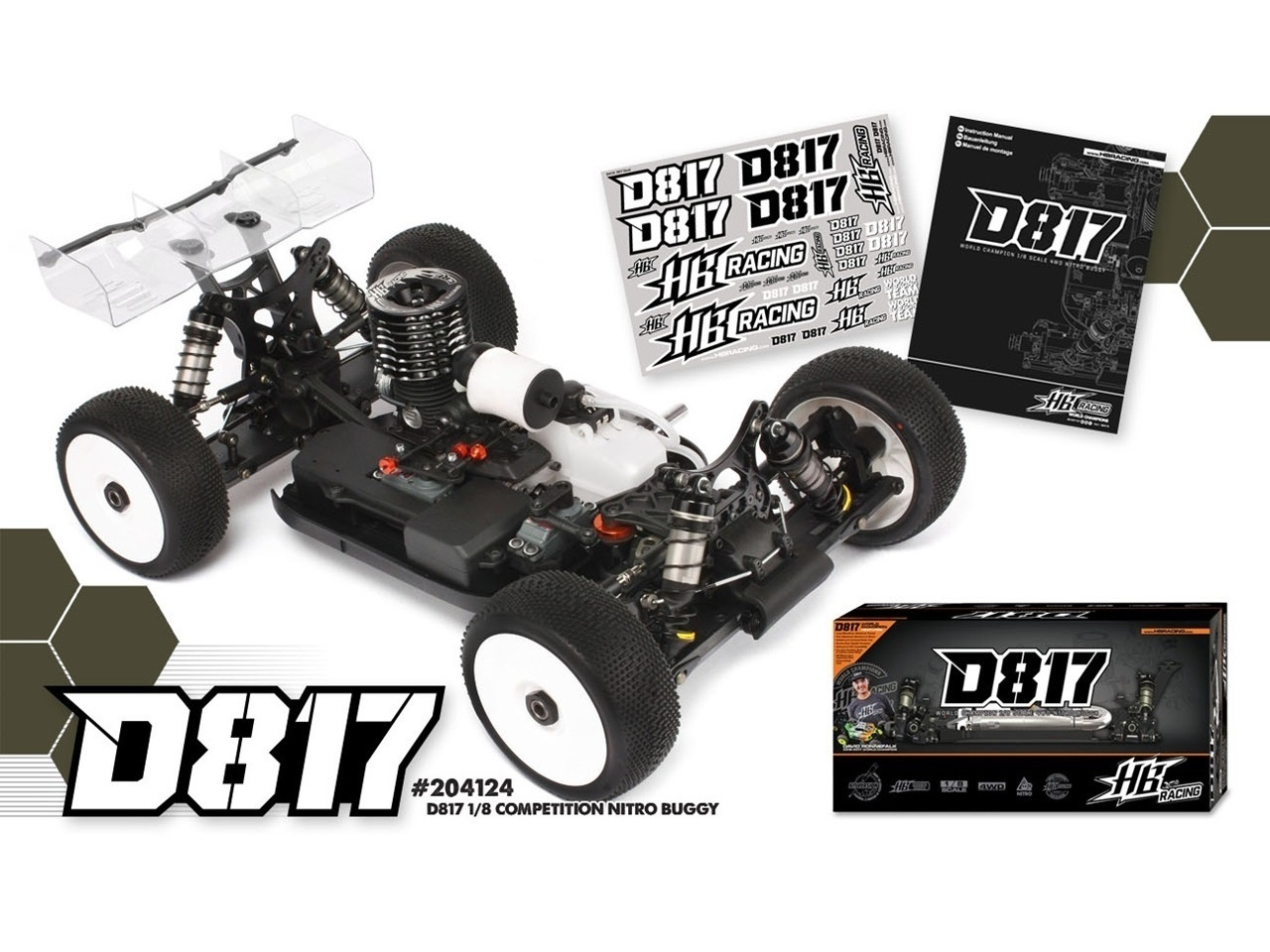 Hot Bodies D817 New 1/8 Competition Nitro Buggy HB204124