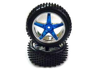 Immagine di VRX Coppia ruote anteriori complete di cerchio cromate blu Himoto 1/10 buggy Esagono 12mm