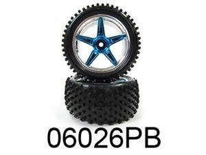 Immagine di VRX Coppia ruote posteriori complete cromate blu buggy 1/10 Esagono 12mm