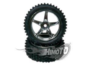 Immagine di Himoto Coppia ruote anteriori cromate complete 1/10 esagono 12mm