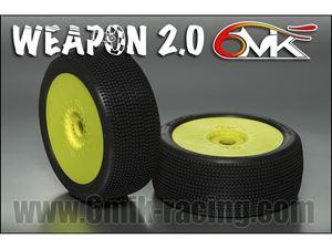 Immagine di 6MIK - Coppia gomme 1:8 Buggy Weapon 2.0 (0/18° Soft) incollate su cerchio Giallo (2)