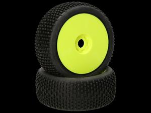 Immagine di HB RACING - Khaos Coppia gomme (Pink Super Soft 1:8 Buggy) Montate Su cerchi giallo (2) HB204283