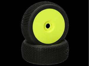 Immagine di HB RACING -Gridlock Coppia gomme (Medie Bianche 1:8 Buggy) Montate Su cerchi giallo (2) 204303