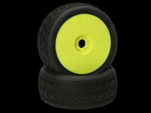 Immagine di HB RACING - Beams Coppia gomme (Red Soft 1:8 Buggy) Montate Su cerchi giallo (2) 204308