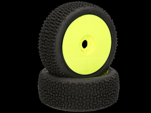 Immagine di HB RACING -Megagrid Coppia gomme (Medie Bianche 1:8 Buggy) Montate Su cerchi giallo (2) 204291