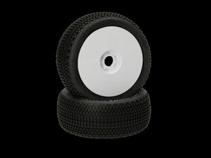 Immagine di HB RACING -Gridlock V2 Coppia gomme (Pink Super Soft 1:8 Buggy) Montate Su cerchi Bianchi (2) 204316