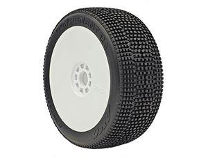 Immagine di Aka Coppia Gomme Buggy 1:8 Component 2AB  Soft Longwear incollate su cerchi bianchi (2)14032XRW