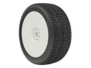 Immagine di Aka Coppia Gomme Buggy 1:8 Component 2AB Medium Longwear incollate su cerchi bianchi (2)14032ZRW